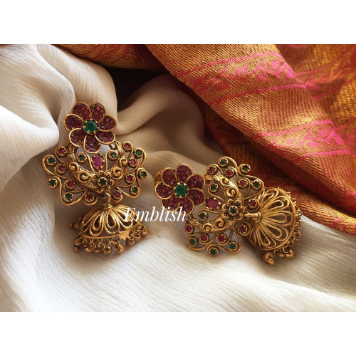 Antique flower cut work earring