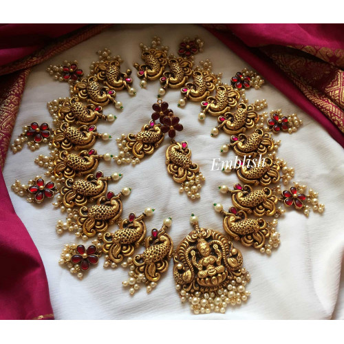 Antique finish kundan jadau flower drop Lakshmi neckpiece -3328