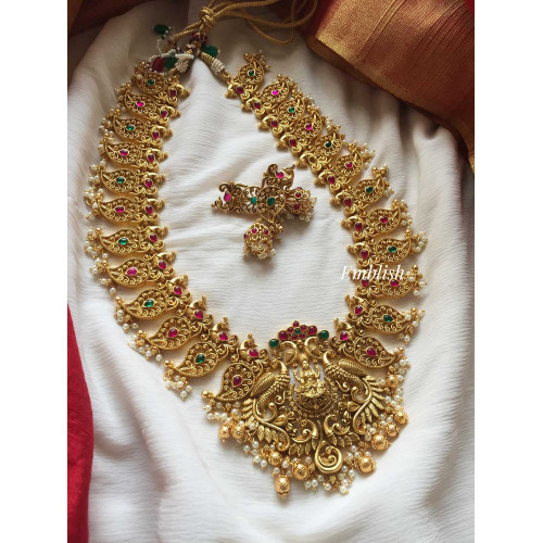 Cut work mango peacock Lakshmi neckpiece- Long -3349